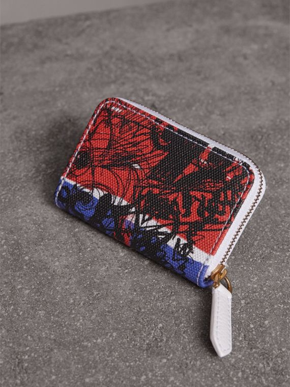 Doodle Print Coated Canvas Ziparound Coin Case in Red/blue | Burberry Hong Kong - cell image 2