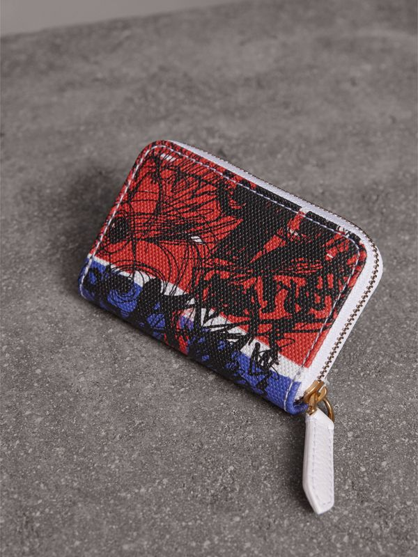 Doodle Print Coated Canvas Ziparound Coin Case in Red/blue | Burberry - cell image 2