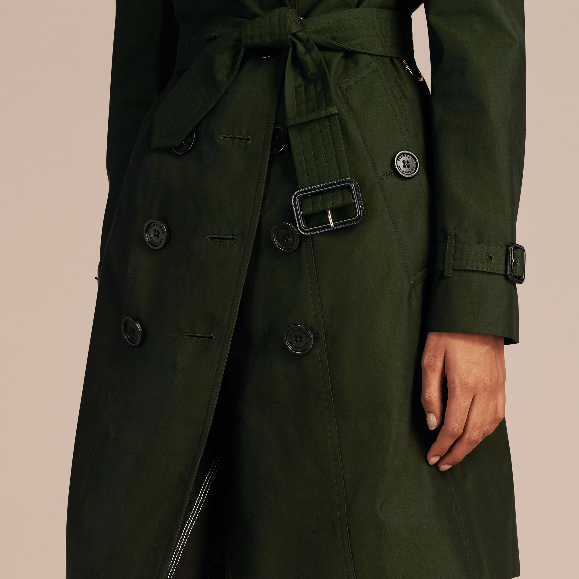 Dark cedar green Cotton Gabardine Trench Coat with Detachable Fur Trim Dark Cedar Green - gallery image 5