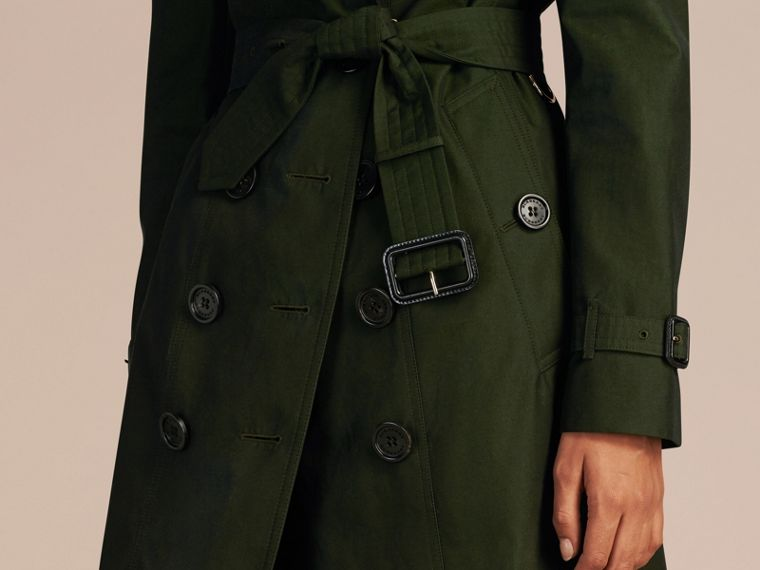 Dark cedar green Cotton Gabardine Trench Coat with Detachable Fur Trim Dark Cedar Green - cell image 4