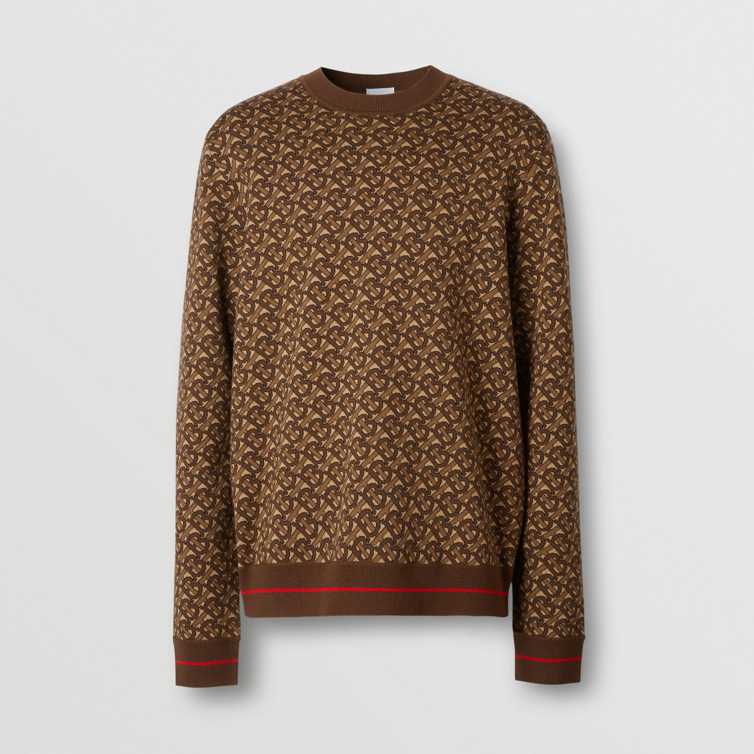 Monogram Merino Wool Jacquard Sweater in Bridle Brown - Men | Burberry - 4