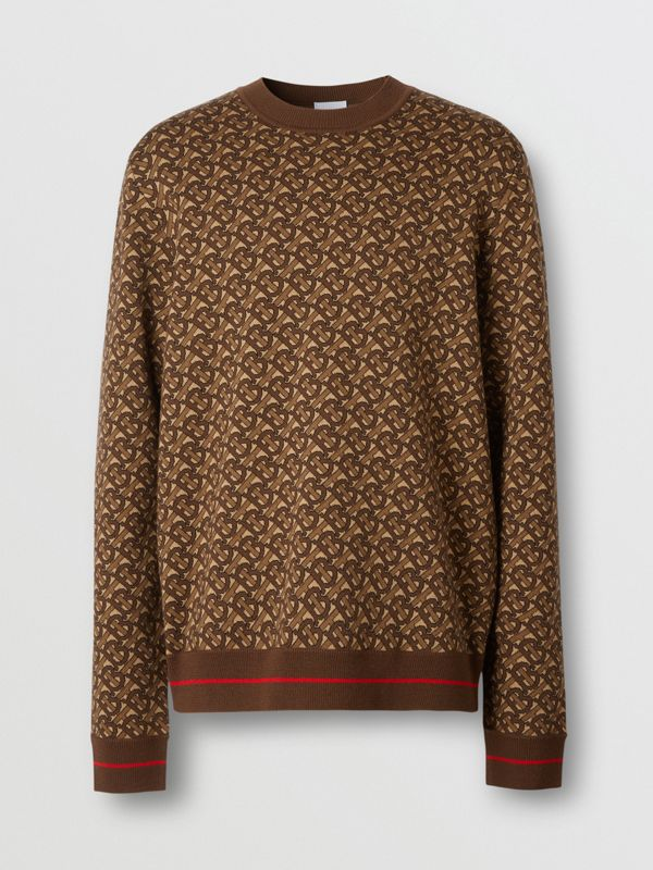 Monogram Merino Wool Jacquard Sweater in Bridle Brown - Men | Burberry United Kingdom - cell image 3