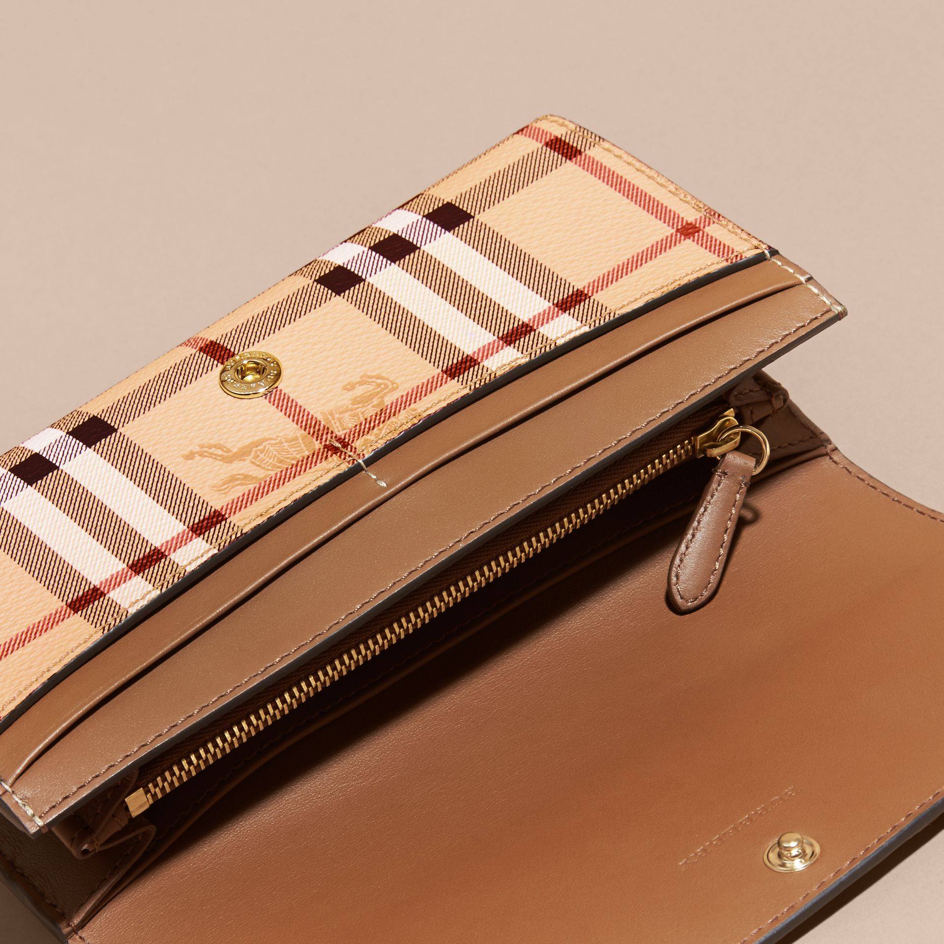 Haymarket Check and Leather Continental Wallet in Tan - Women | Burberry Canada - gallery image 5