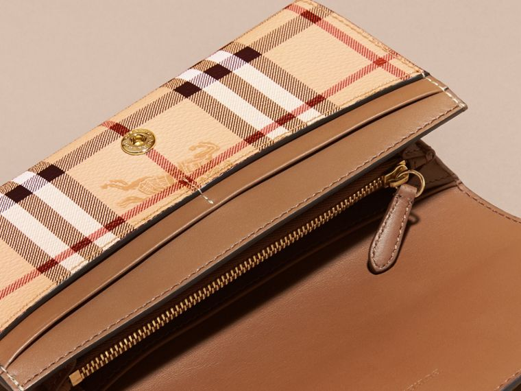 Haymarket Check and Leather Continental Wallet in Tan - Women | Burberry Canada - cell image 4