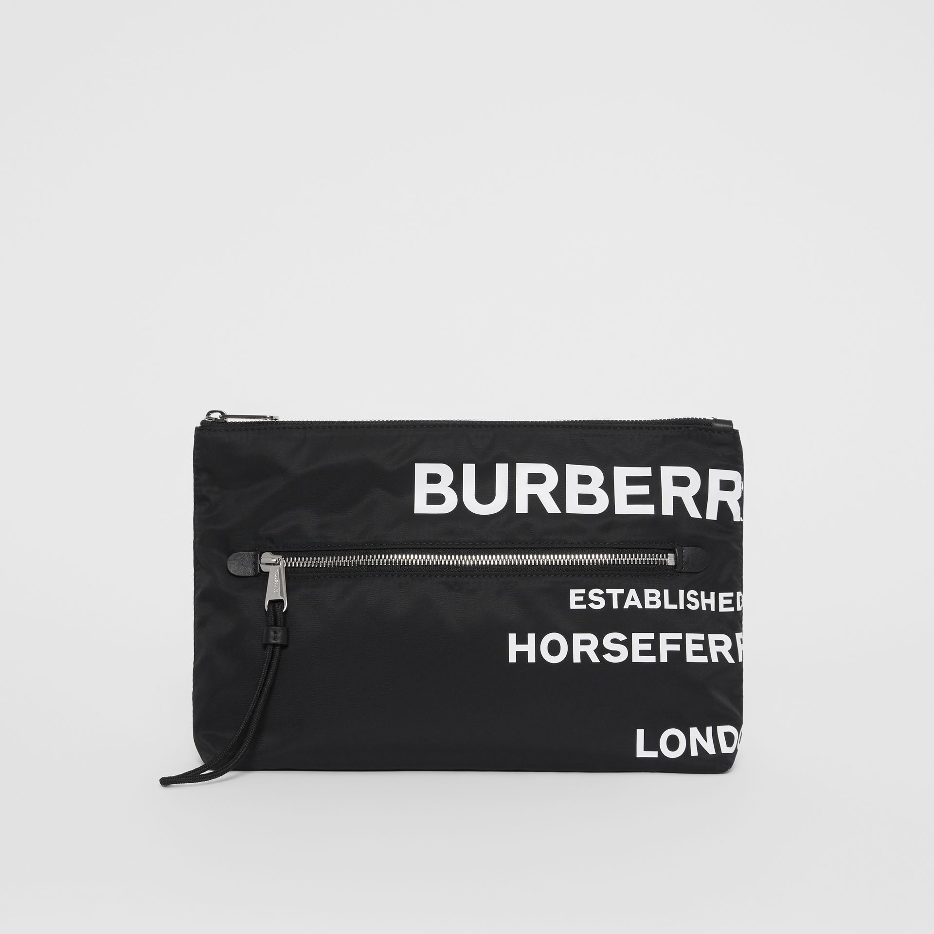 Horseferry Print Nylon Zip Pouch in Black/white | Burberry Australia - gallery image 0