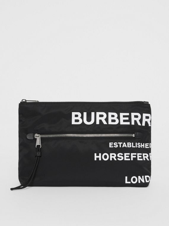 Horseferry Print Nylon Zip Pouch in Black/white