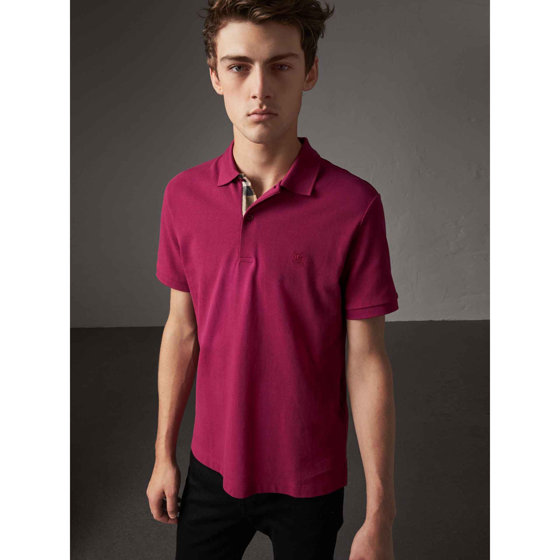 Check Placket Cotton Piqué Polo Shirt in Raspberry Sorbet - Men | Burberry - gallery image 1