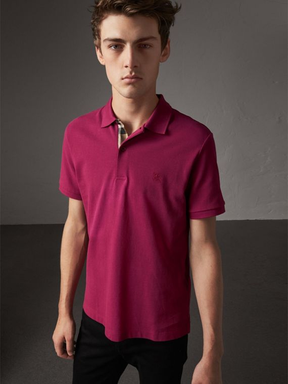 Check Placket Cotton Piqué Polo Shirt in Raspberry Sorbet