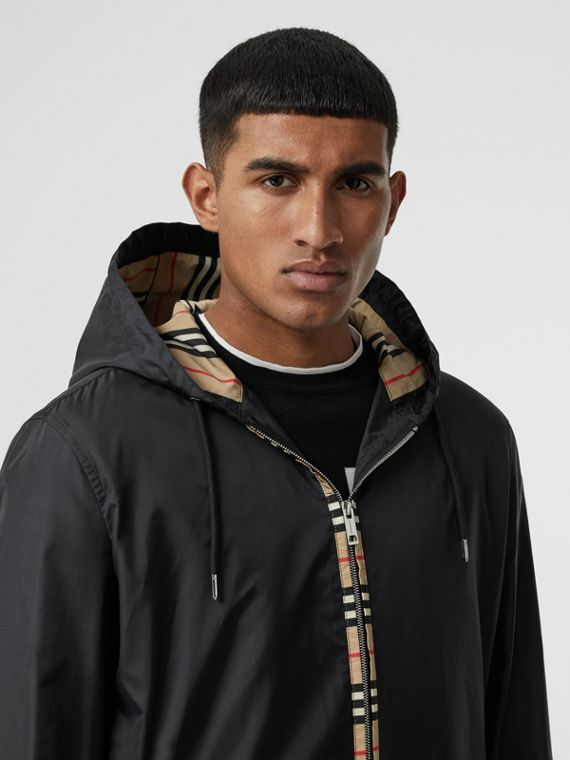 Icon Stripe Detail Nylon Canvas Hooded Jacket in Black
