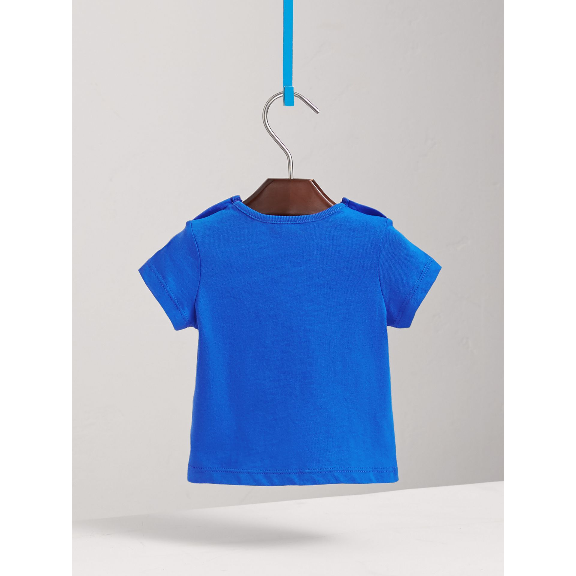 Check Pocket Cotton T-shirt in Cobalt Blue | Burberry Australia - gallery image 3