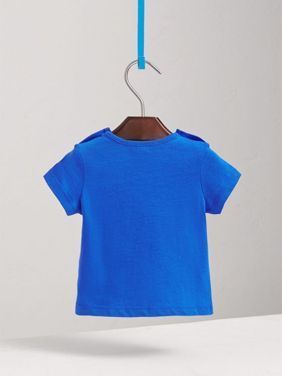 Check Pocket Cotton T-shirt in Cobalt Blue | Burberry - cell image 3