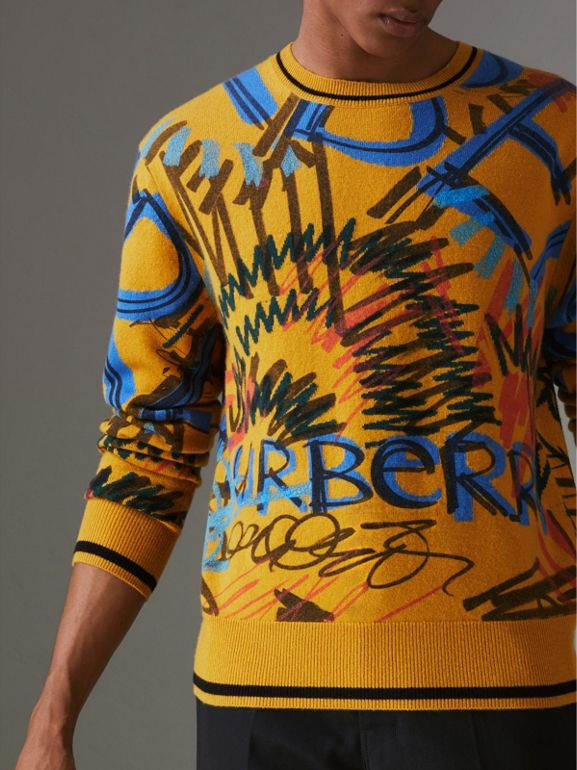 Graffiti Scribble Intarsia Cashmere Sweater in Amber Yellow - Men | Burberry - cell image 1