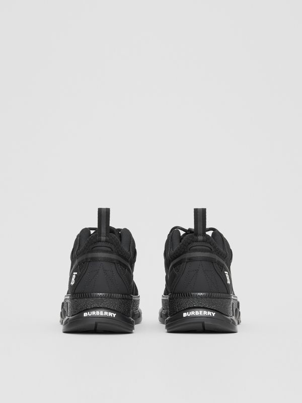 Mesh and Nubuck Sneakers in Black - Men | Burberry - cell image 3