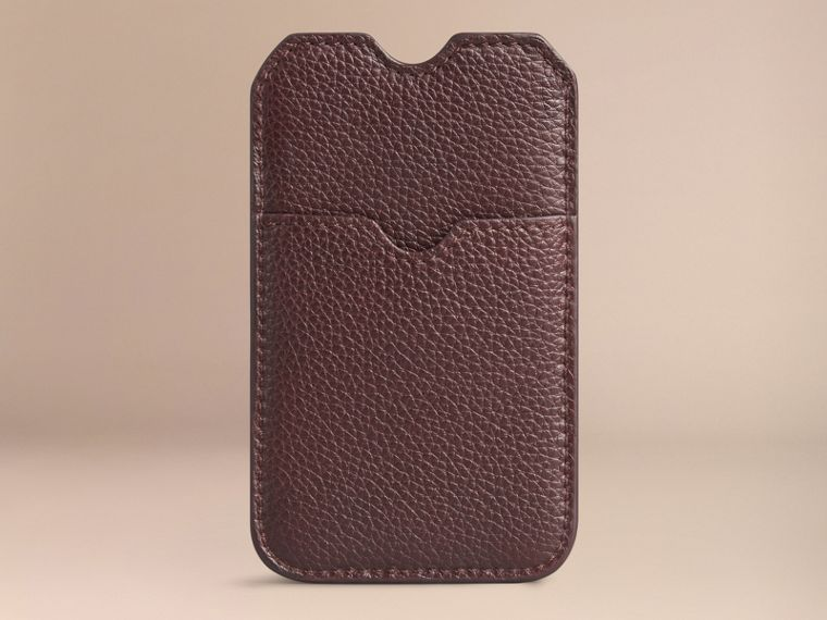 Grainy Leather iPhone 5/5S Case in Ebony Red | Burberry Canada - cell image 1