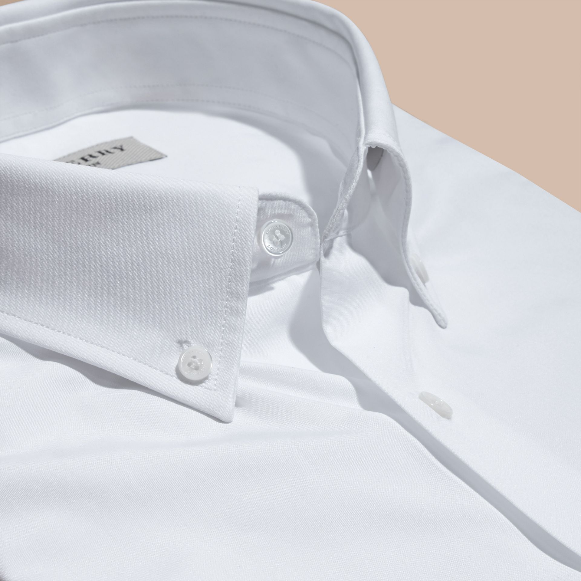 White Modern Fit Button-down Collar Cotton Poplin Shirt - gallery image 2