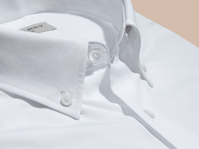 White Modern Fit Button-down Collar Cotton Poplin Shirt - cell image 1