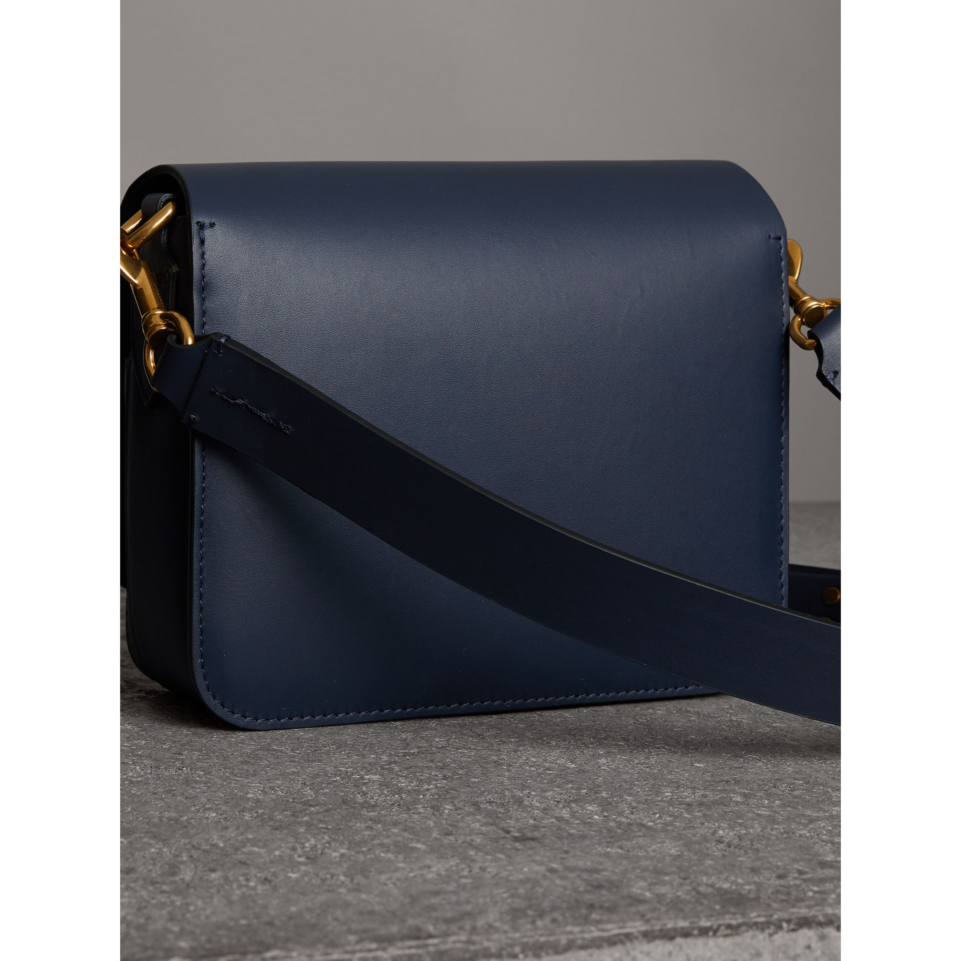 The Medium Square Satchel in Leather in Mid Indigo - Women | Burberry United States - gallery image 4