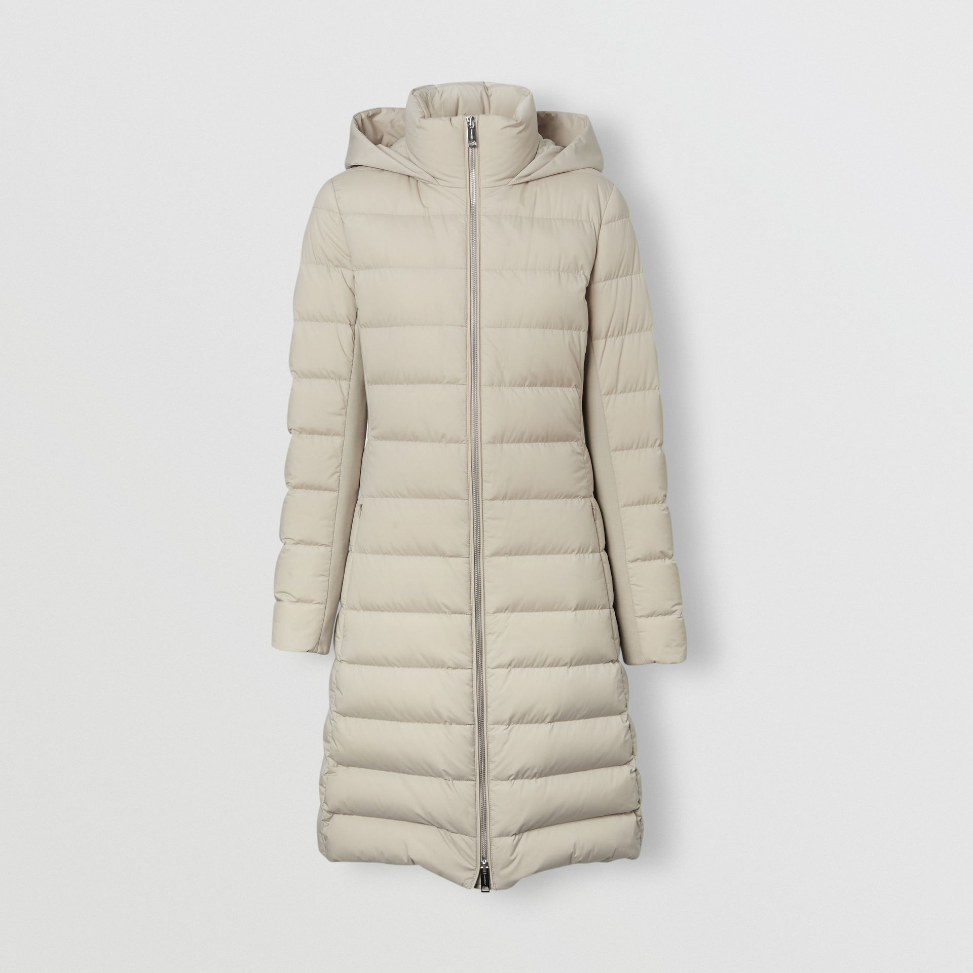 Detachable Faux Fur Trim Hooded Puffer Coat in Neutral Olive - Women | Burberry - gallery image 3