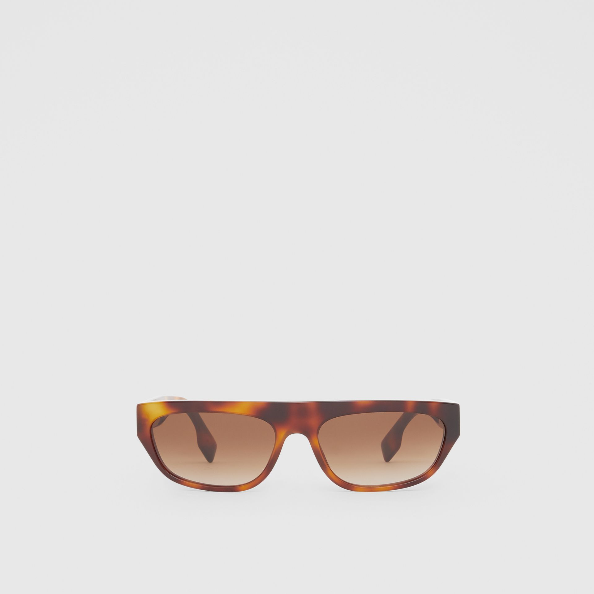 Monogram Motif Rectangular Frame Sunglasses in Amber Tortoiseshell | Burberry - gallery image 0