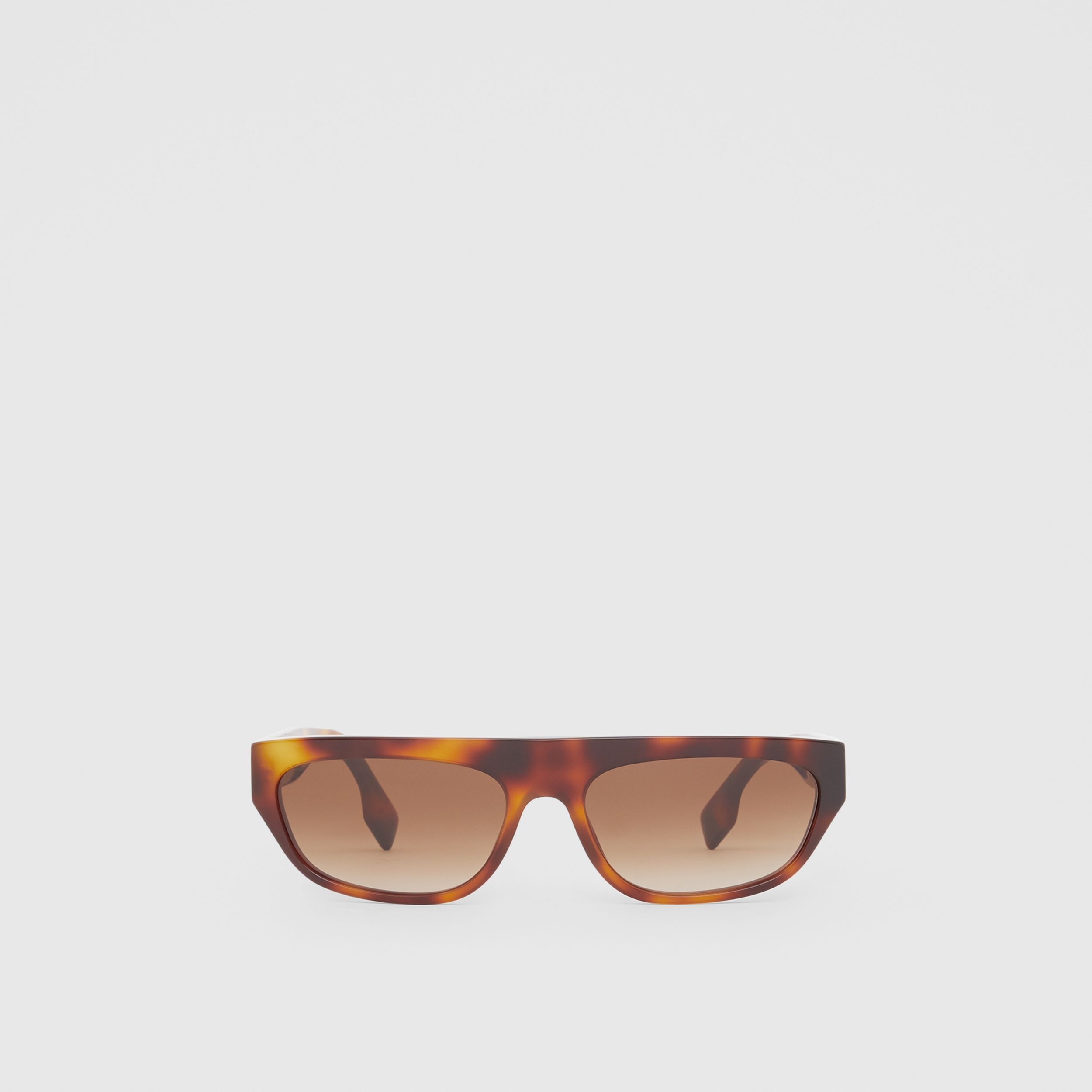 Monogram Motif Rectangular Frame Sunglasses in Amber Tortoiseshell | Burberry - 1