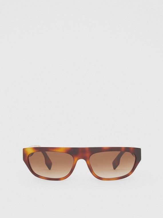 Monogram Motif Rectangular Frame Sunglasses in Amber Tortoiseshell