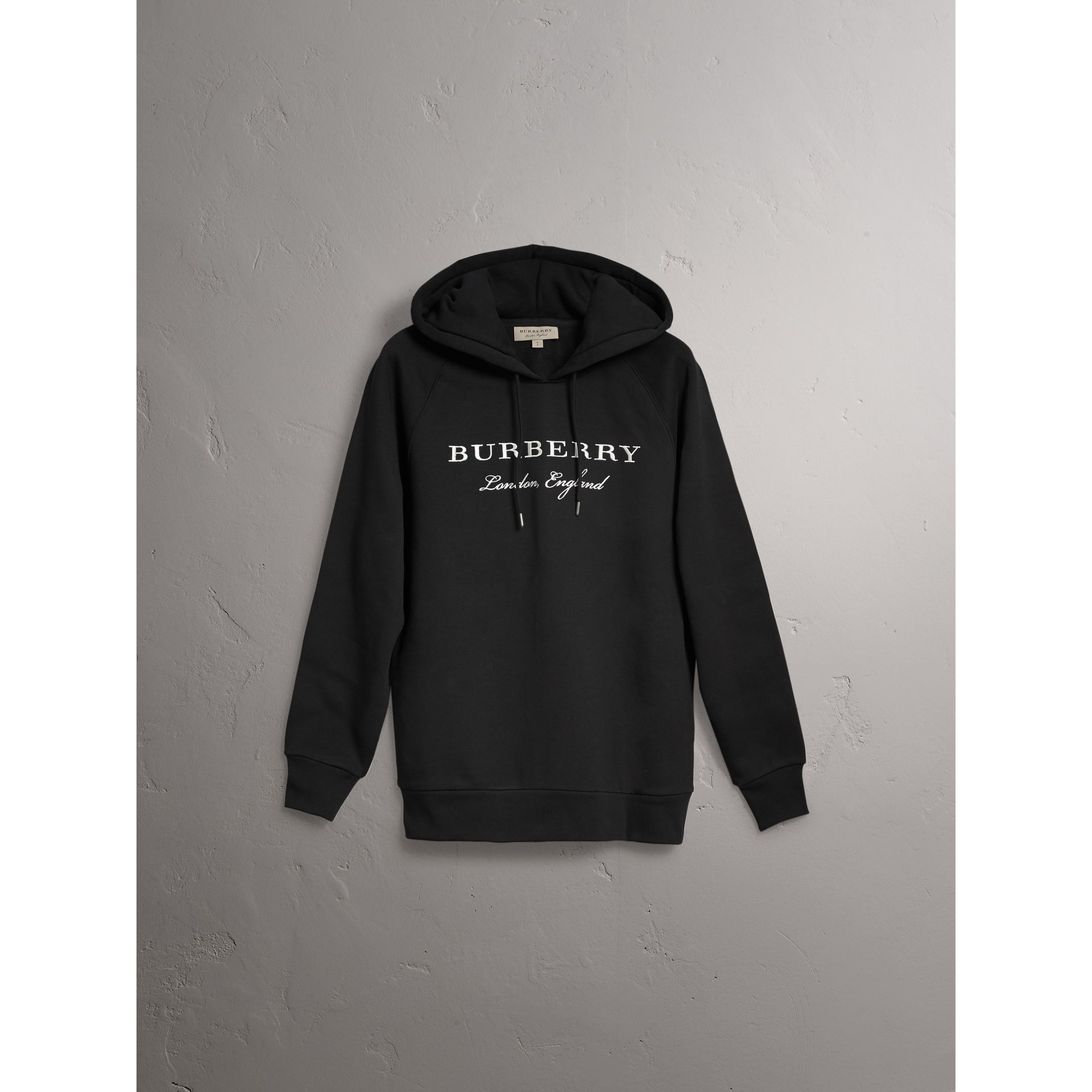 Sweat-shirt brodé à capuche (Noir) - Femme | Burberry - photo de la galerie 3