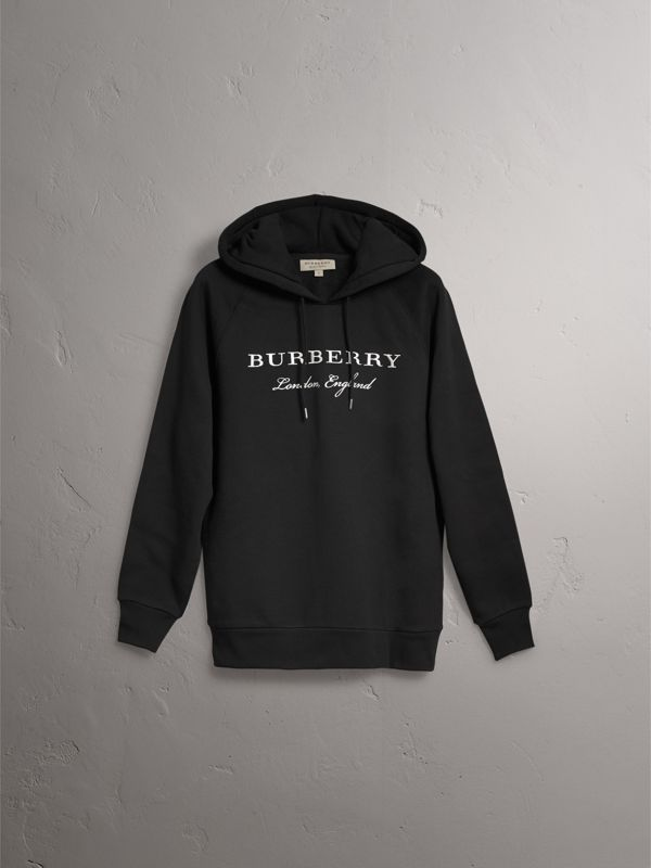 Embroidered Hooded Sweatshirt in Black - Women | Burberry United Kingdom - cell image 3
