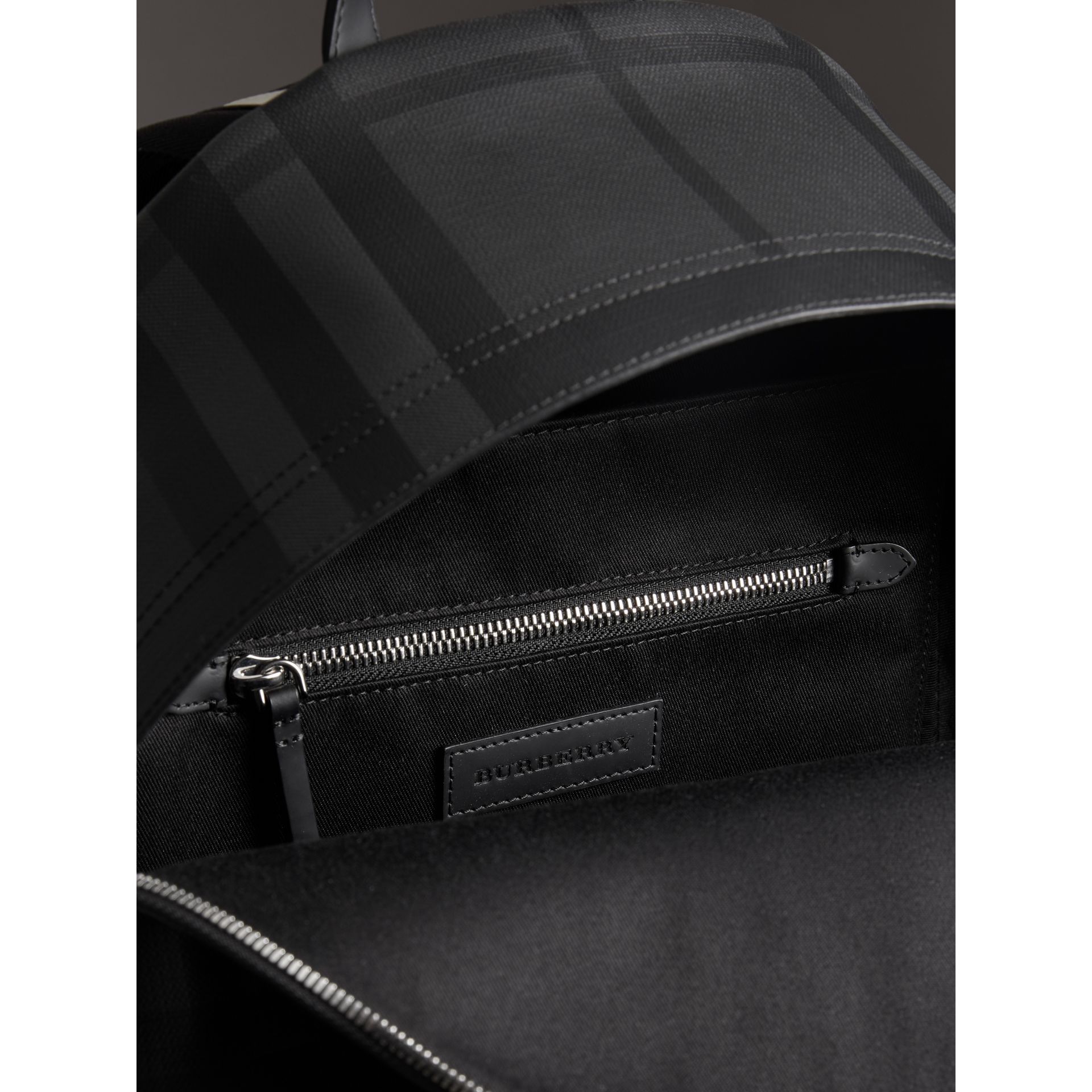 Logo Print London Check Backpack in Charcoal - Men | Burberry United Kingdom - gallery image 5