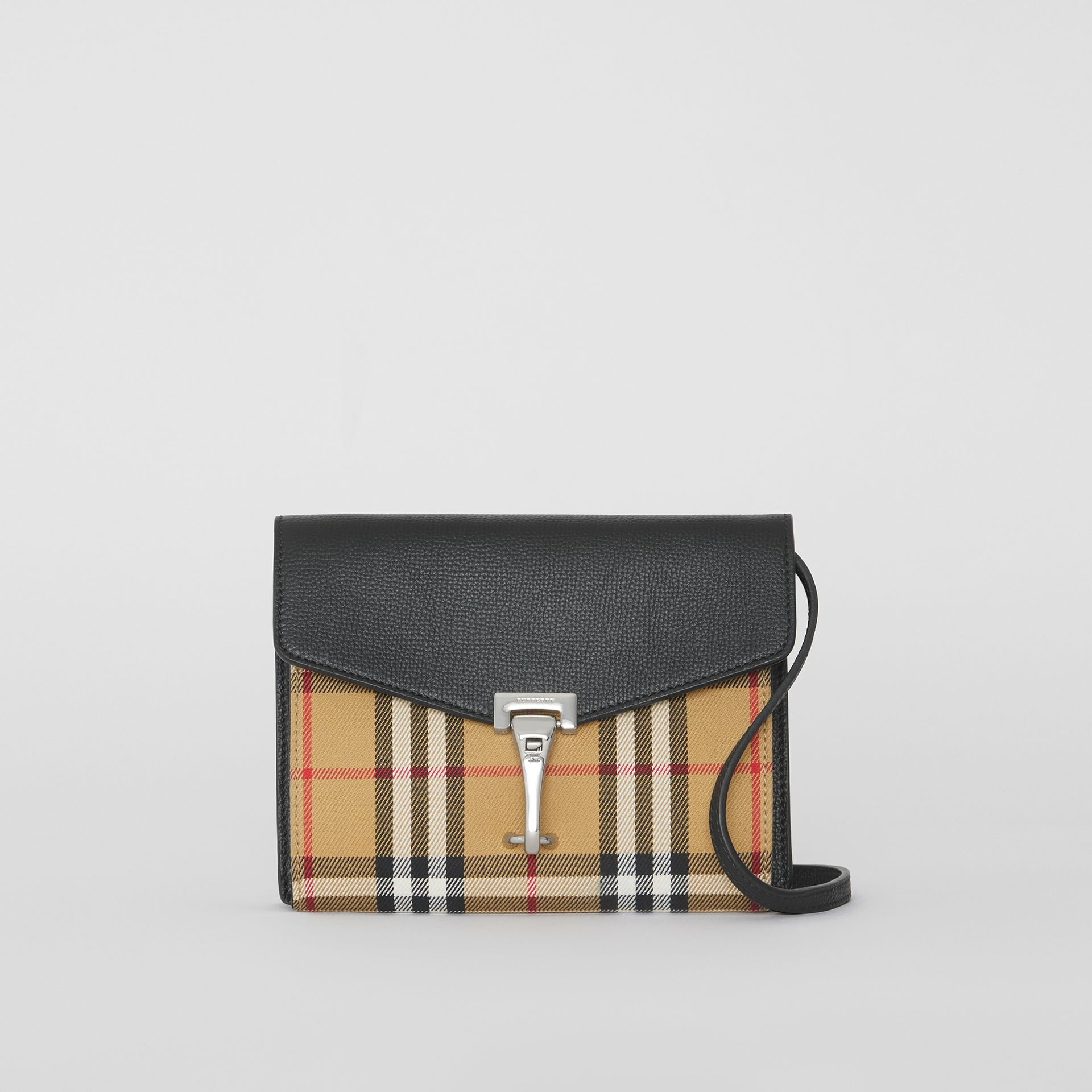 Mini Leather and Vintage Check Crossbody Bag in Black - Women | Burberry - gallery image 0