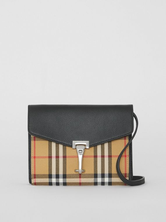 Mini Leather and Vintage Check Crossbody Bag in Black