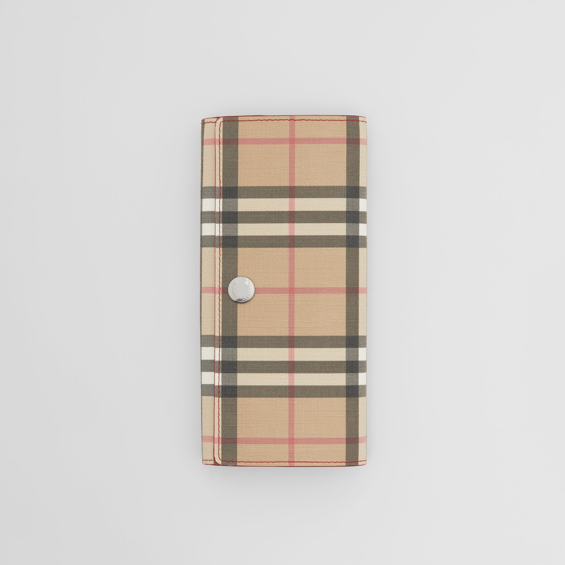 Vintage Check E-canvas and Leather Continental Wallet in Bright Military Red - Women | Burberry Hong Kong S.A.R - gallery image 2