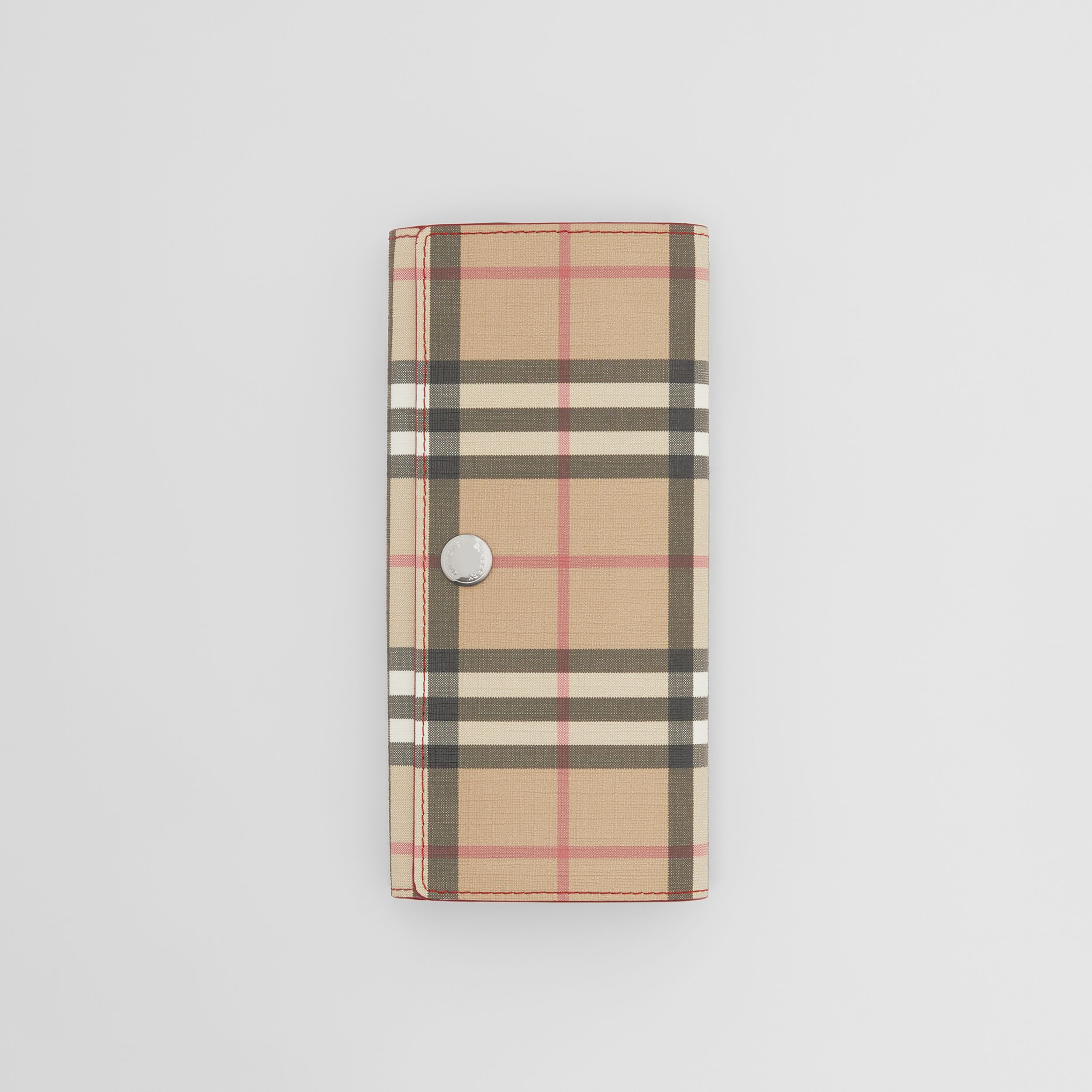 Vintage Check E-canvas and Leather Continental Wallet in Bright Military Red - Women | Burberry - 3