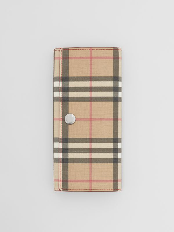 Vintage Check E-canvas and Leather Continental Wallet in Bright Military Red - Women | Burberry - cell image 2