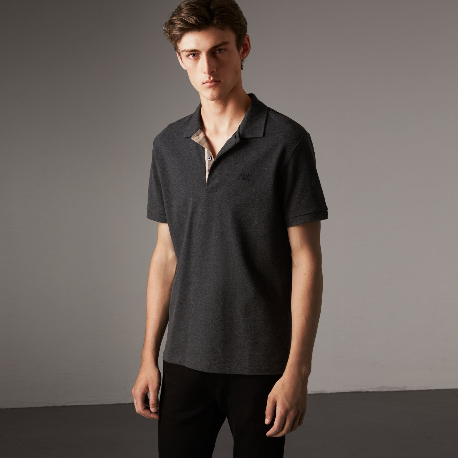 Check Placket Cotton Piqué Polo Shirt in Dark Charcoal Melange - Men | Burberry Australia - gallery image 0