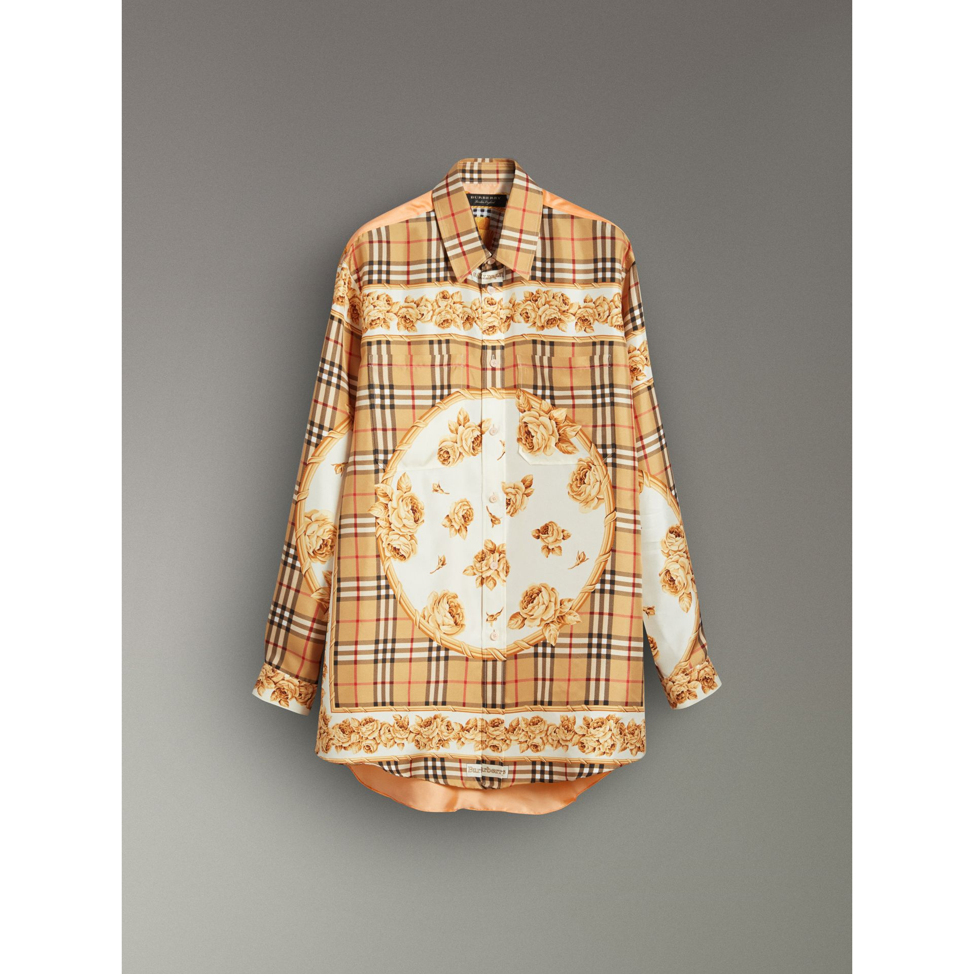 Archive Scarf Print Silk Shirt in Antique Yellow | Burberry United States - gallery image 3