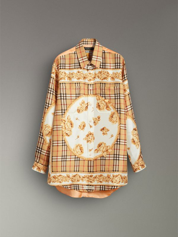 Archive Scarf Print Silk Shirt in Antique Yellow | Burberry - cell image 3