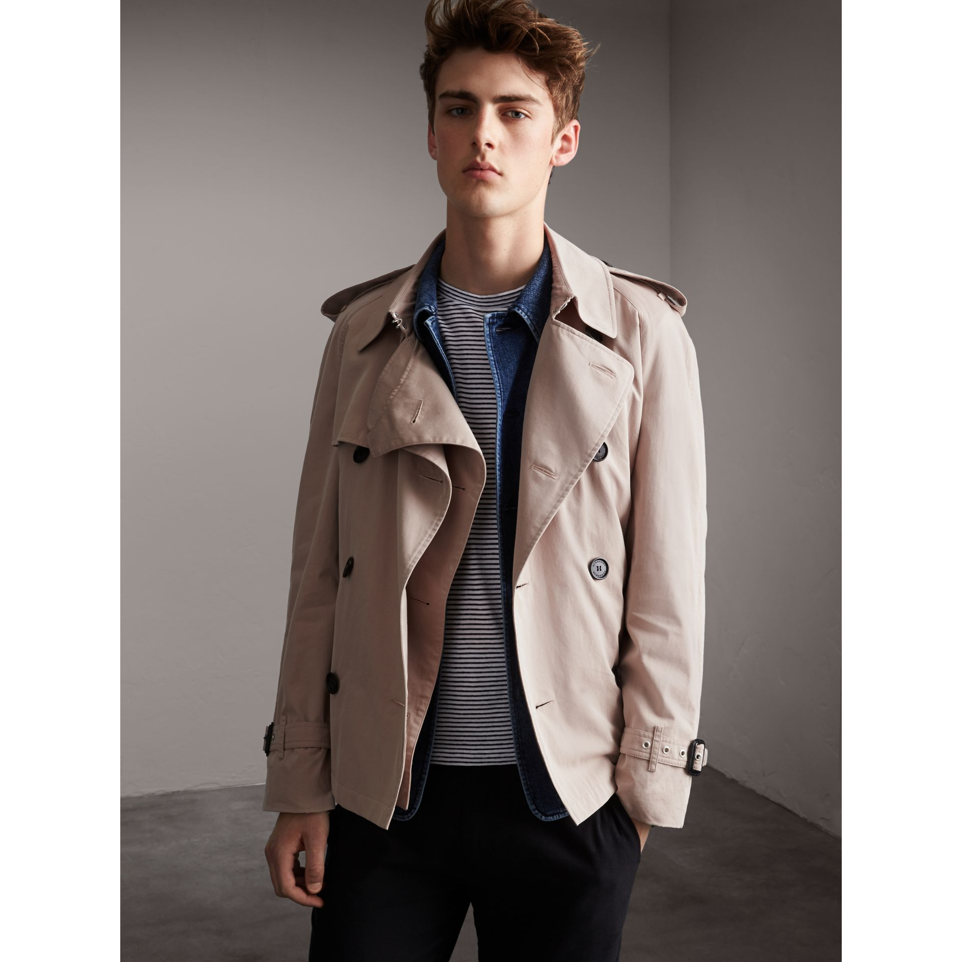 Unisex Tropical Gabardine Trench Jacket in Light Taupe - Men | Burberry - gallery image 1