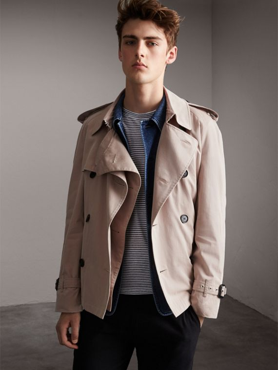 Unisex Tropical Gabardine Trench Jacket in Light Taupe - Men | Burberry Singapore