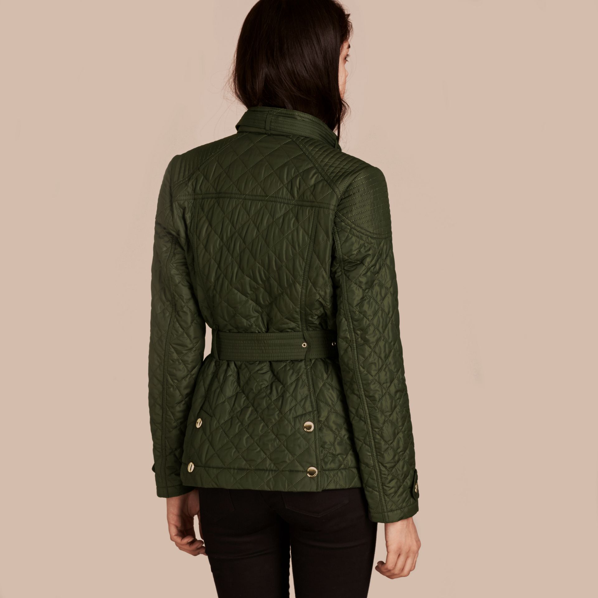 Olive Diamond Quilted Field Jacket with Panel Detail - gallery image 3