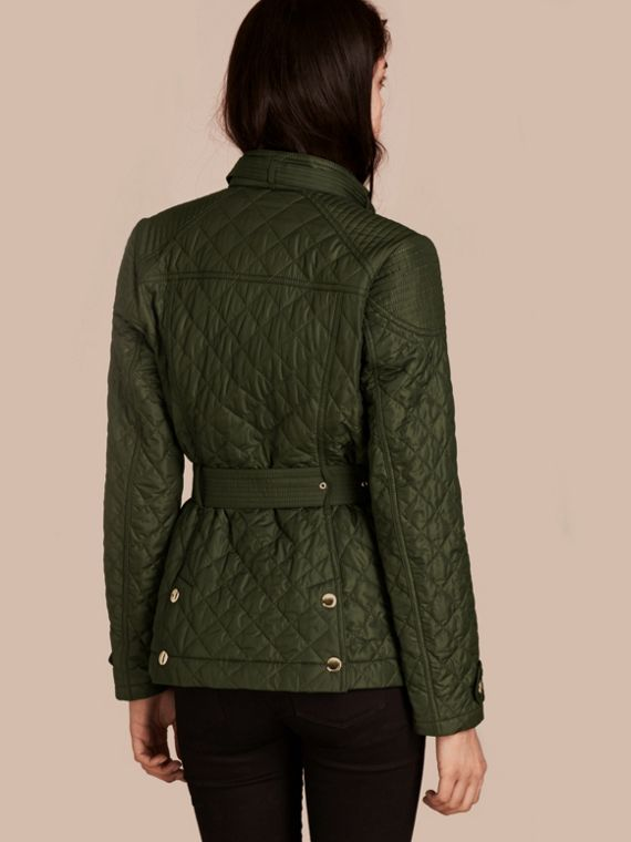 Olive Diamond Quilted Field Jacket with Panel Detail - cell image 2