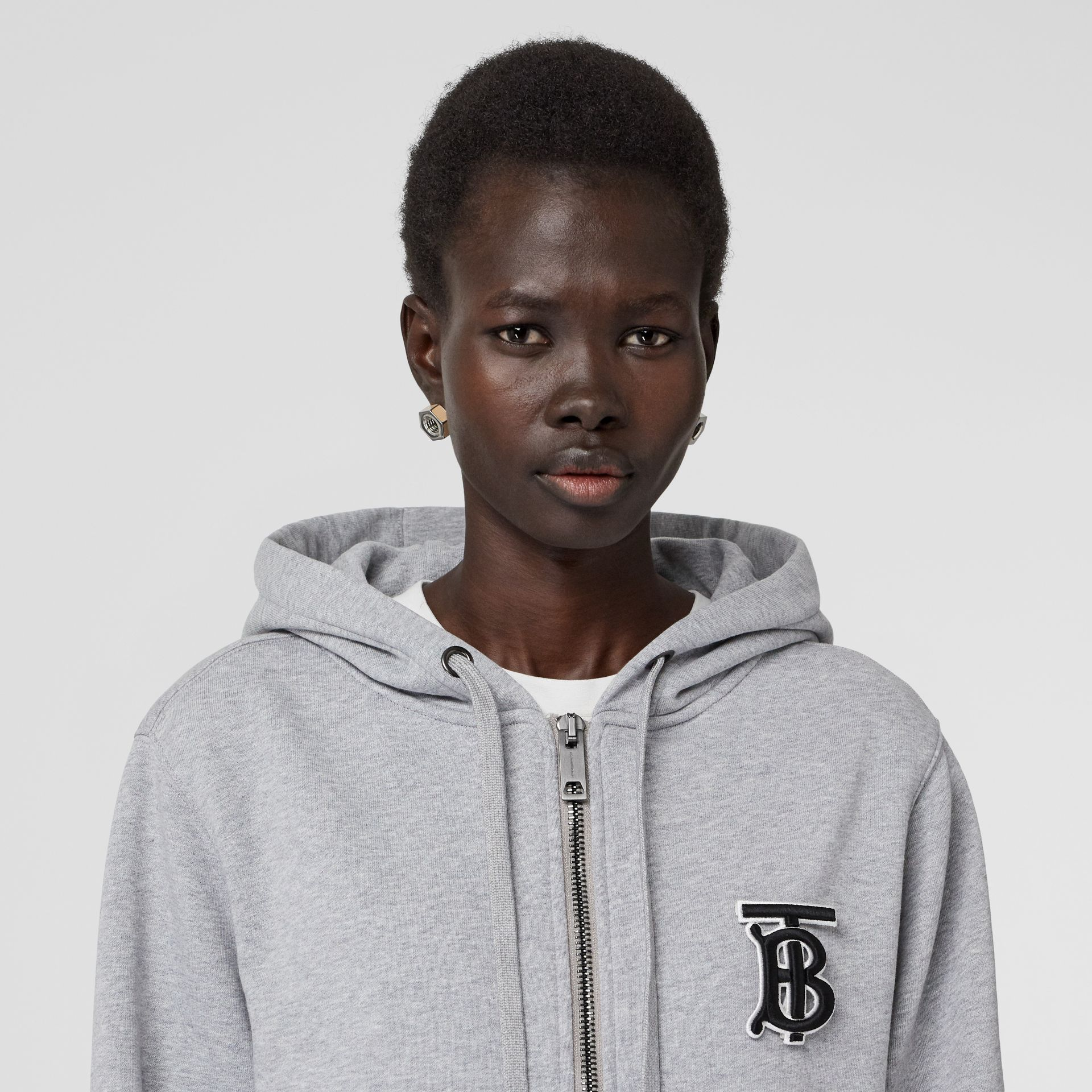 Monogram Motif Cotton Oversized Hooded Top in Pale Grey Melange - Women | Burberry - gallery image 1