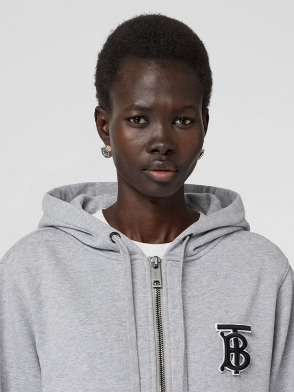 Monogram Motif Cotton Oversized Hooded Top in Pale Grey Melange - Women | Burberry - cell image 1