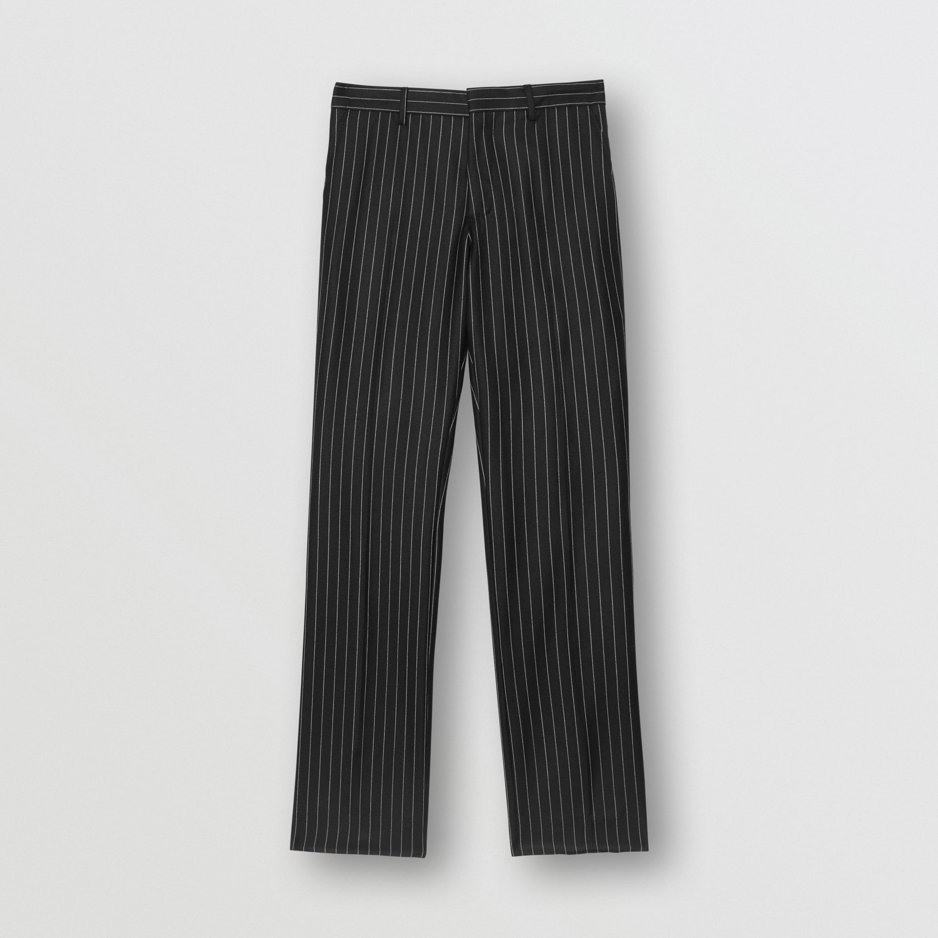 Classic Fit Pinstriped Wool Tailored Trousers in Black/white | Burberry United Kingdom - gallery image 3