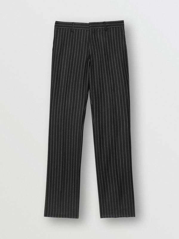 Classic Fit Pinstriped Wool Tailored Trousers in Black/white | Burberry Singapore - cell image 3
