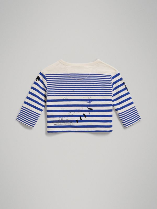 Long-sleeve SW1 Print Cotton Top in Bright Lapis/natural White - Children | Burberry - cell image 3