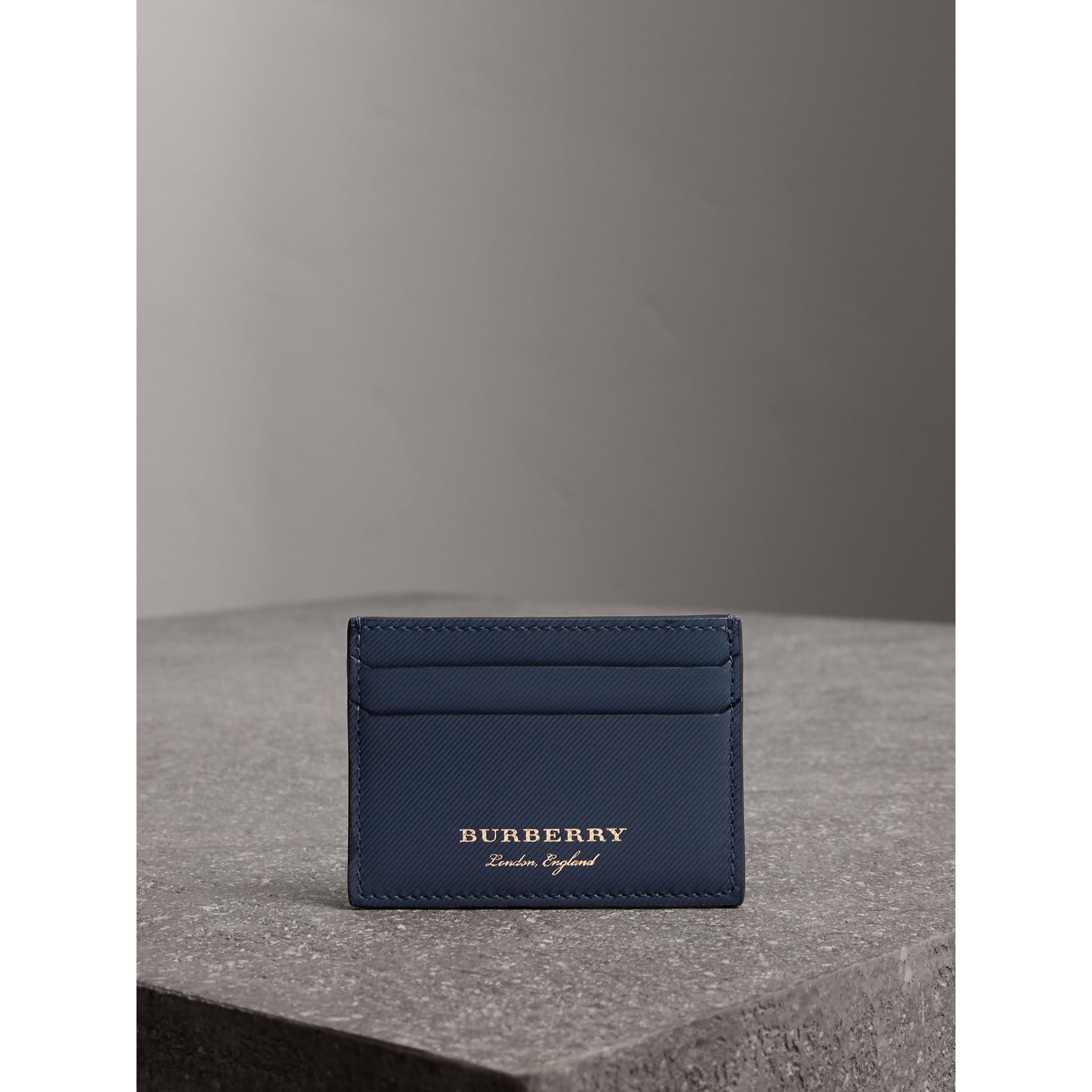 Trench Leather Card Case in Ink Blue - Men | Burberry - gallery image 4