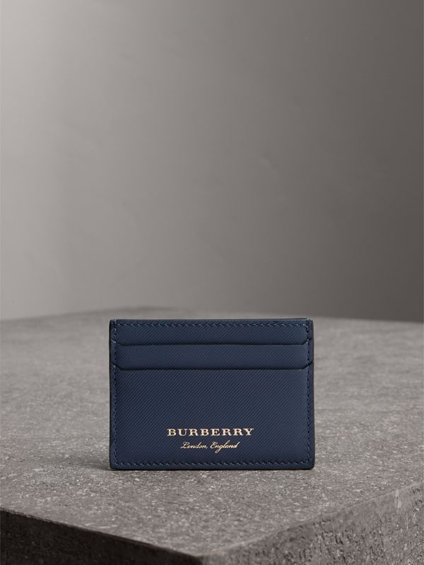 Trench Leather Card Case in Ink Blue | Burberry - cell image 3