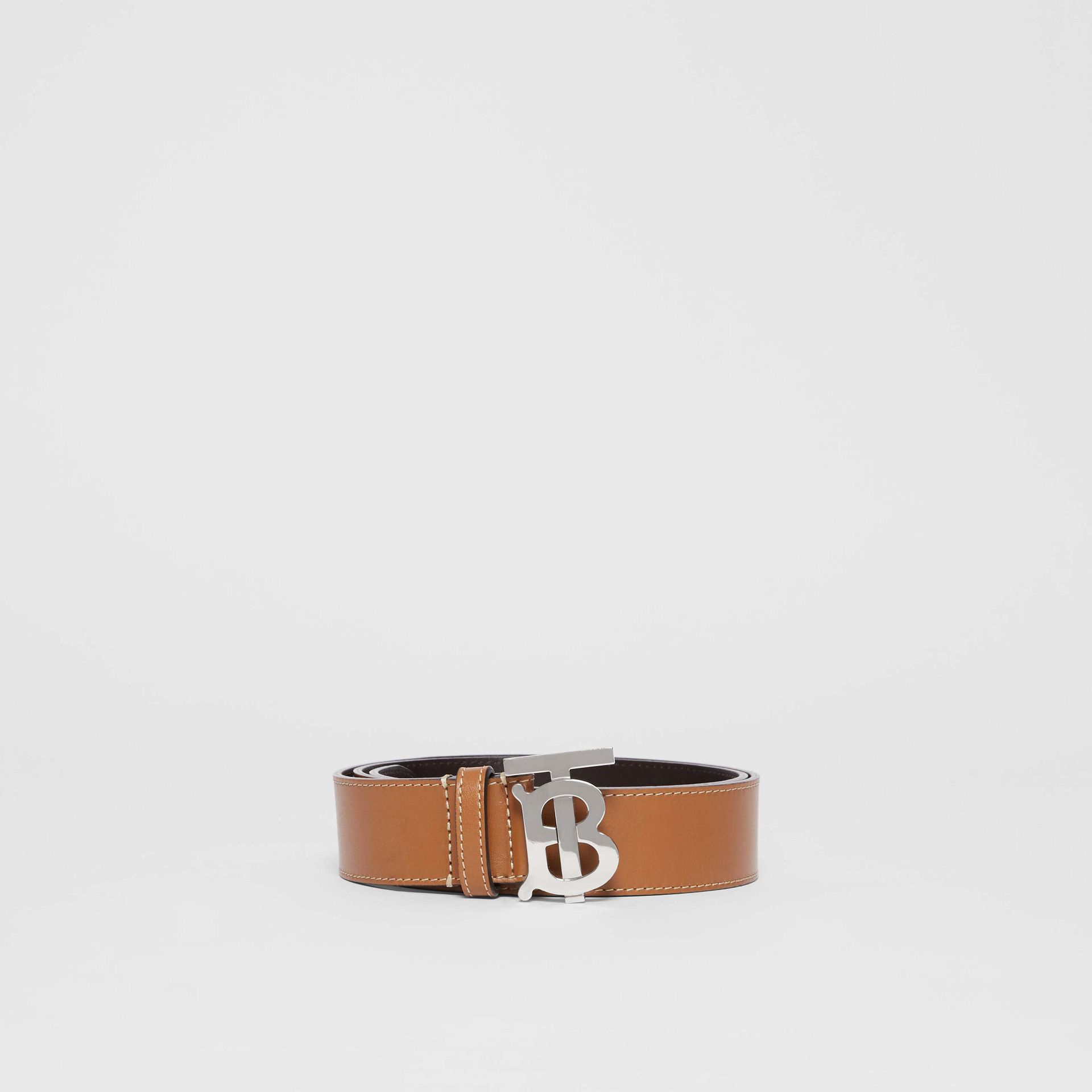 Monogram Motif Topstitched Leather Belt in Tan - Men | Burberry - gallery image 3