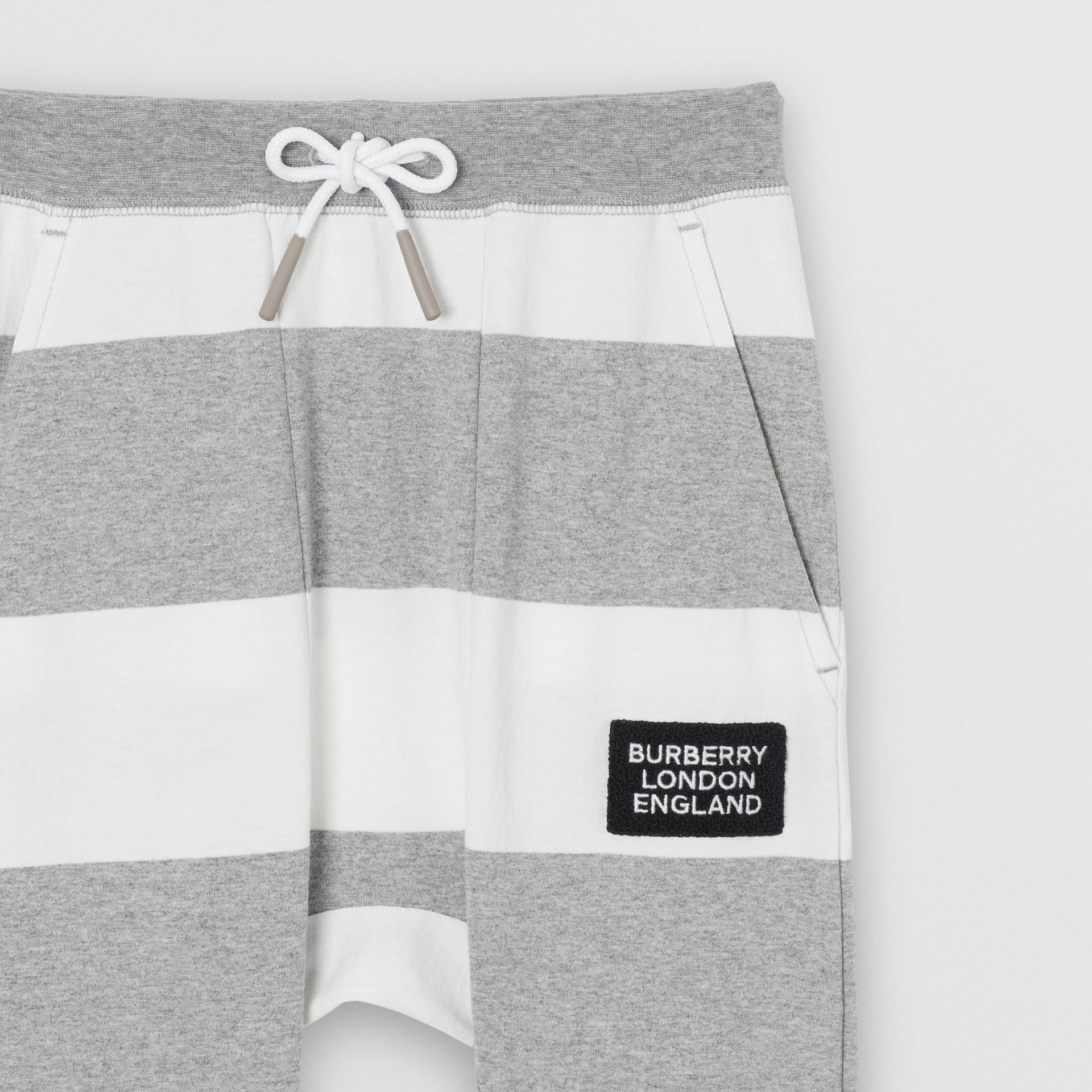 Striped Cotton Trackpants in Grey Melange | Burberry - gallery image 4