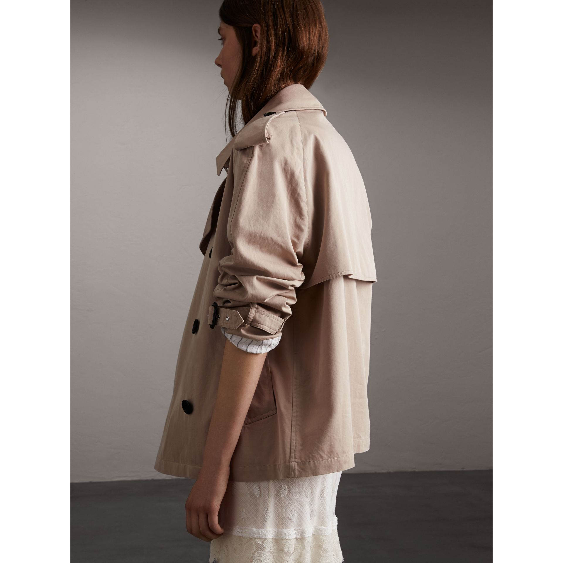 Unisex Tropical Gabardine Trench Jacket in Light Taupe - Women | Burberry - gallery image 7